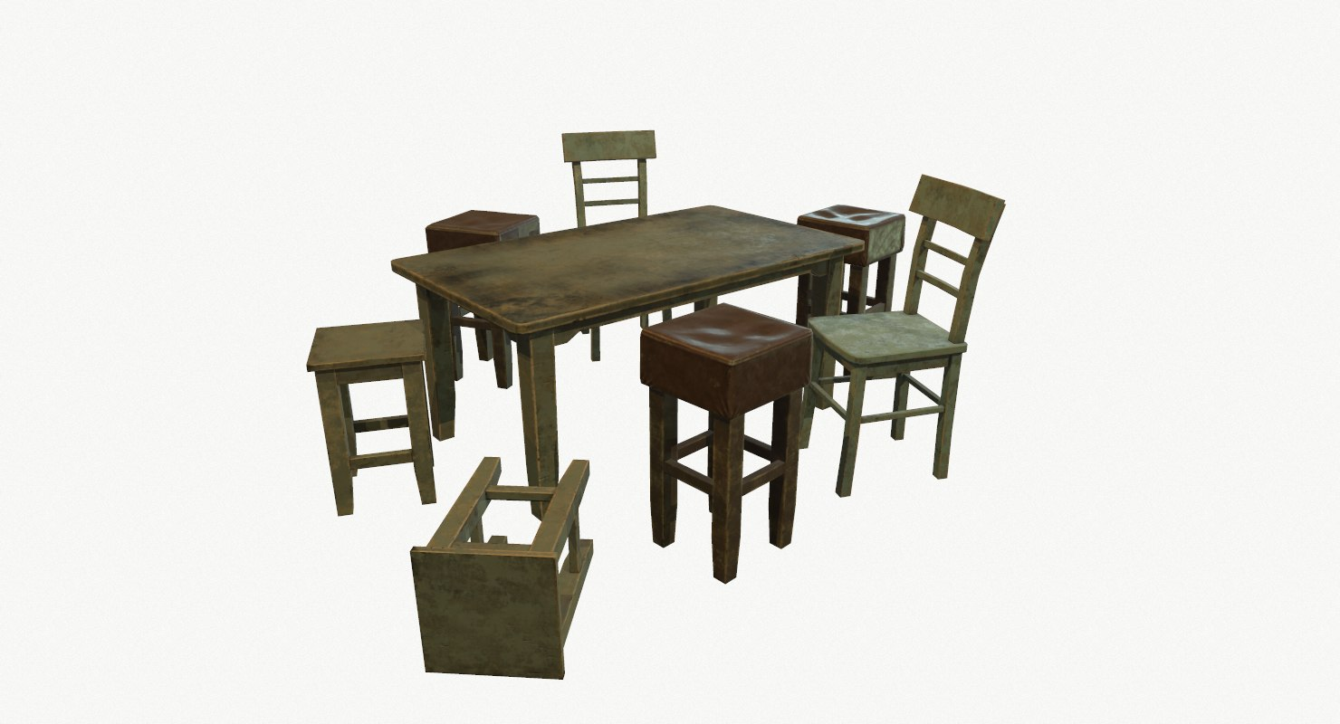 set old furniture 3d model