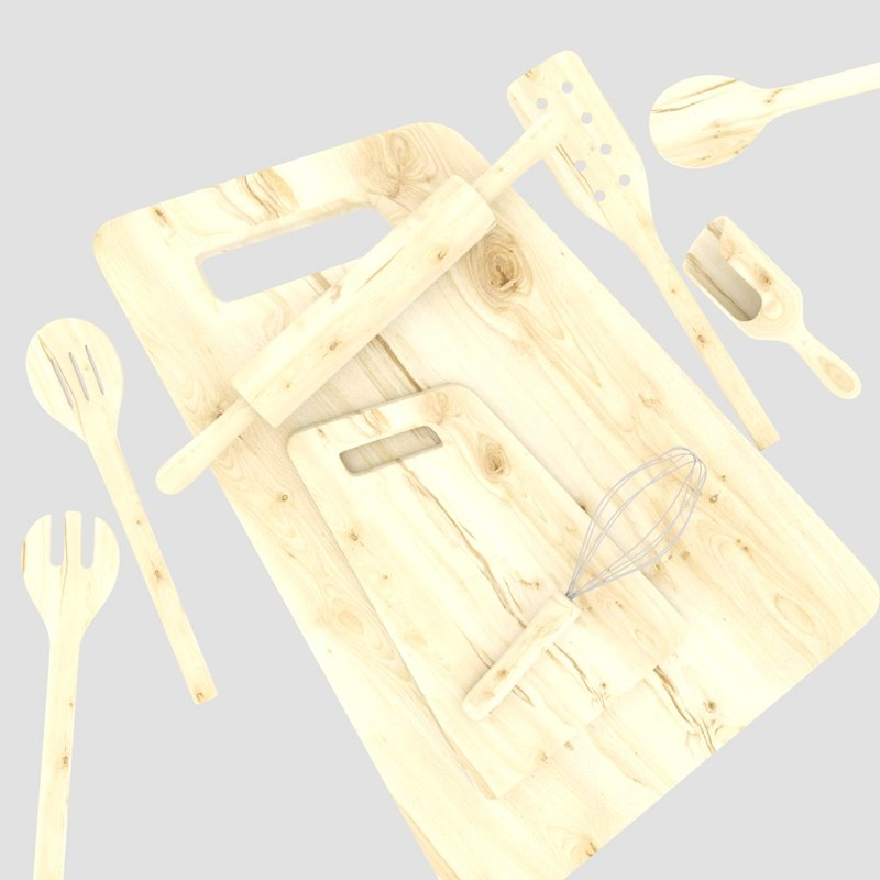 3d wooden kitchen tools model