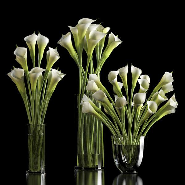 3d model of lilies arranged vase