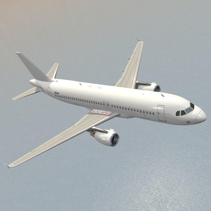 3d model airbus generic white planes