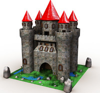 castle cartoon 3d model