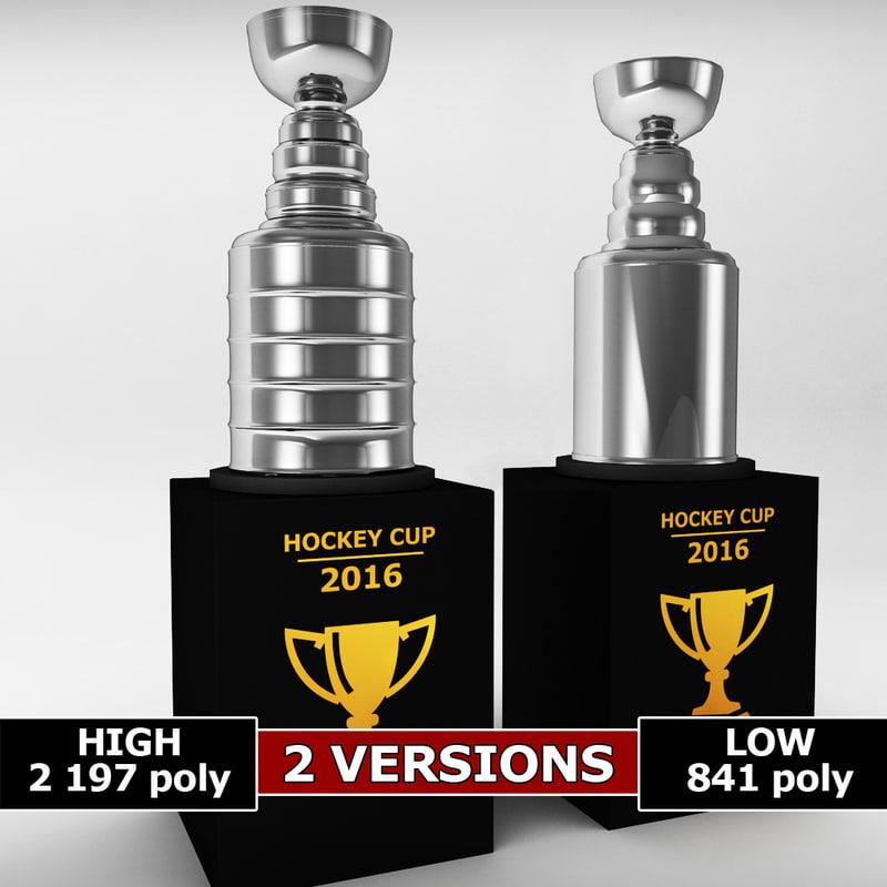 3d model hockey stanley cup trophy