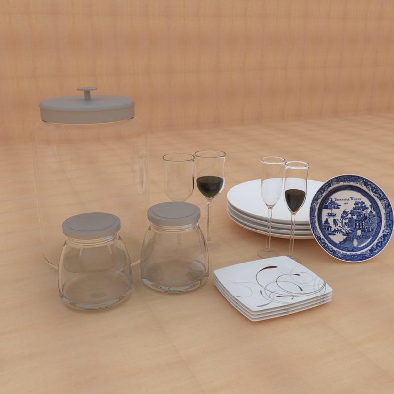 3d model kitchen tableware