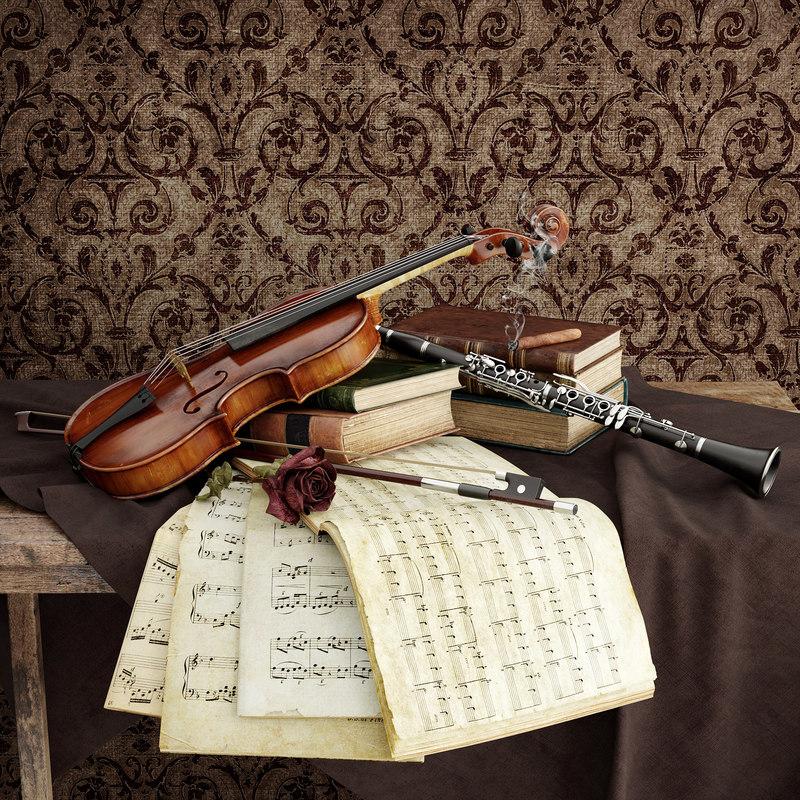 violin clarinet bow 3d max