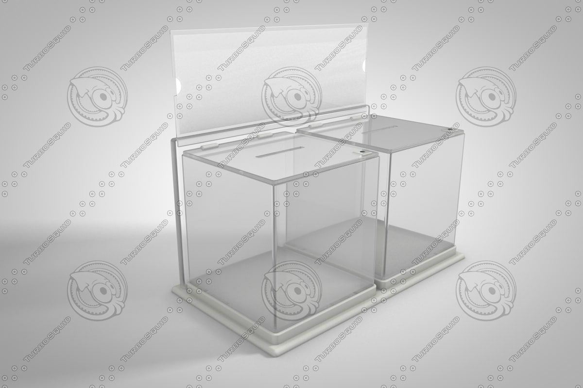 transparent donation box 3d c4d