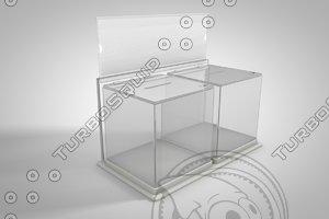 transparent donation box 3d c4d