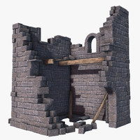3d old tower ruins