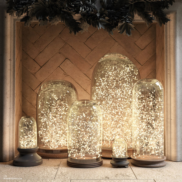 french glass lights cloches 3d obj