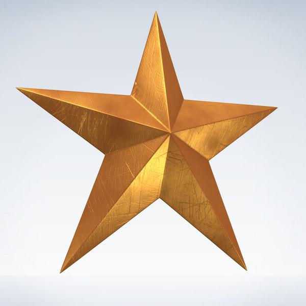 3d model golden star gold