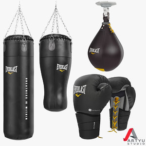 3d punching bag boxing gloves model