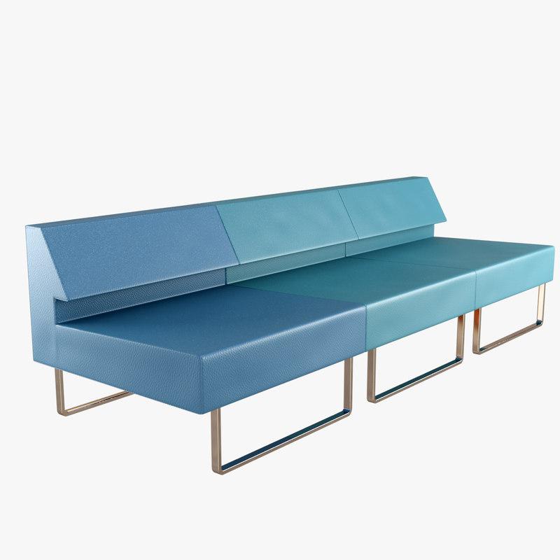 3d model waiting area sofa