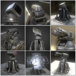 3d model futuristic tower set