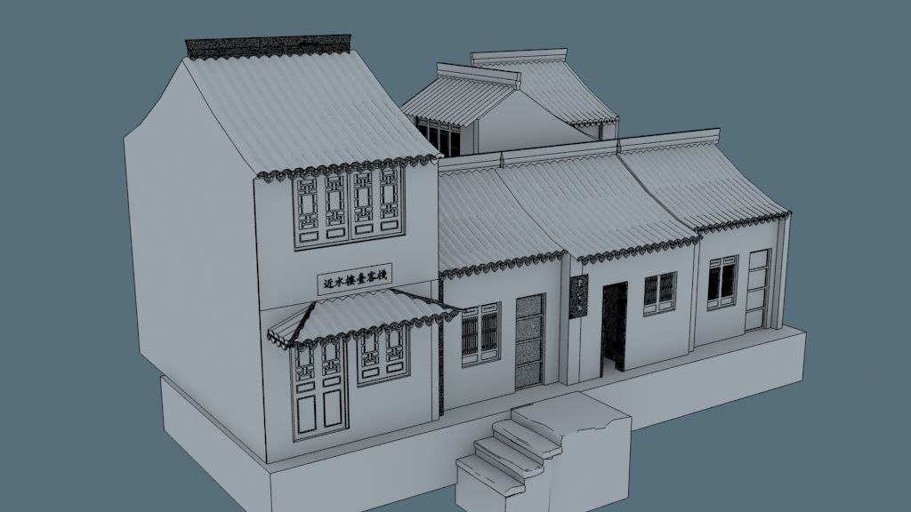 3d china house02 model