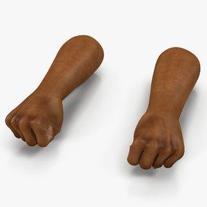african man hands 3 3d model