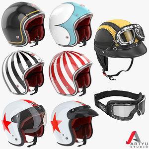 motorcycles helmet goggles set 3d max
