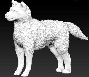3d model wolf dog