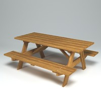 outdoor wooden bench table 3d model