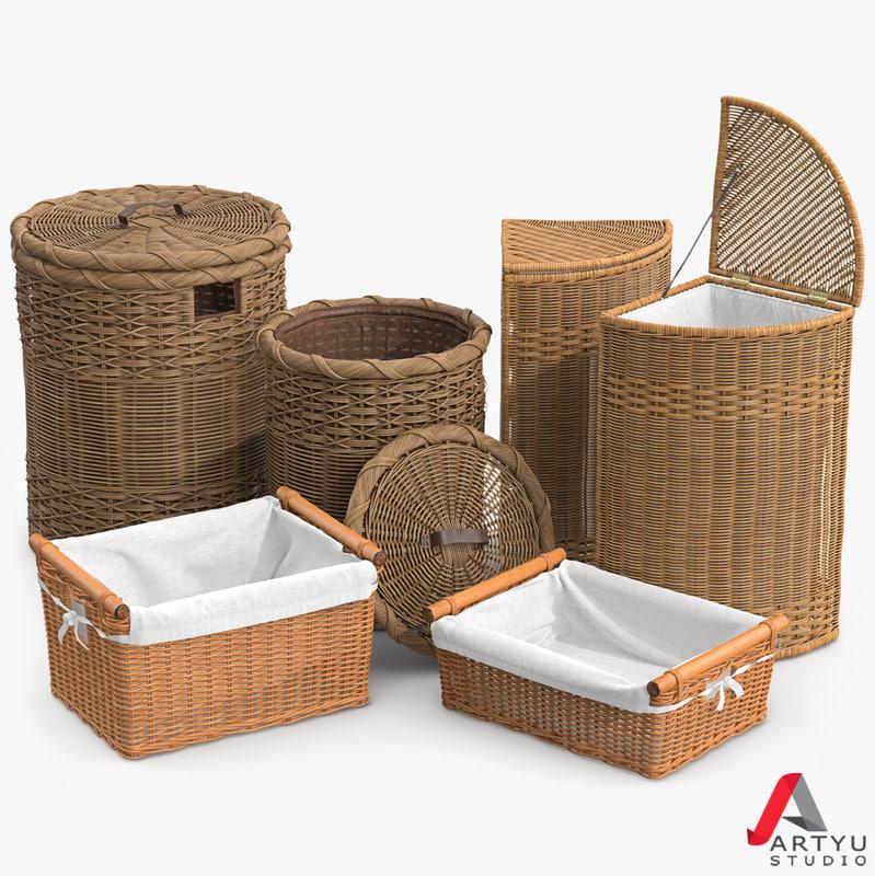 wicker laundry basket rattan 3d model