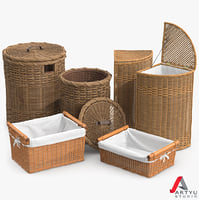 3d model wicker laundry basket rattan