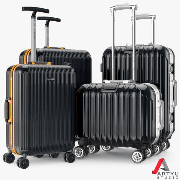 3d set bag suitcase travel