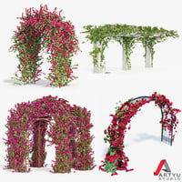 Set climbing roses bougainvillea Of 4 Pergolas With Flowers Ivy
