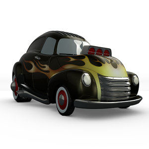 3d model cartoon hot rod