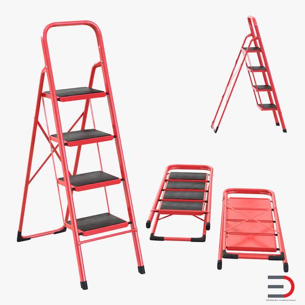 3d model step ladder set