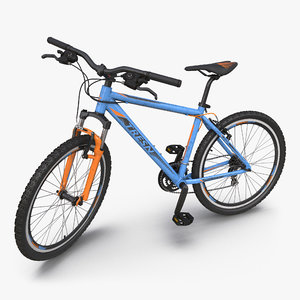 3d model mountain bike blue rigged