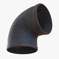 3d iron pipe elbow 2