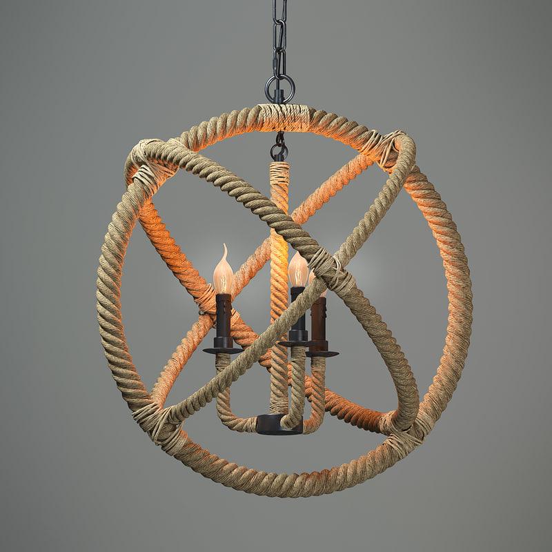 3d model chandeliers loft american sphere