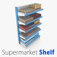 3d supermarket 1 shelf model