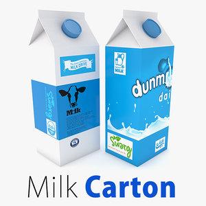 3d supermarket milk carton market