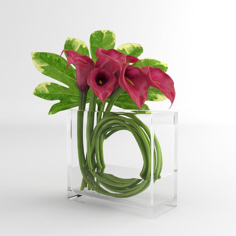 calla lily glass 3d model