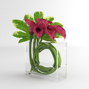 calla lily glass 3d model