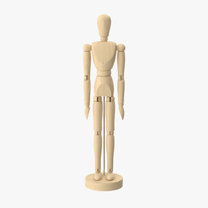 wooden mannequin rigged 3d model