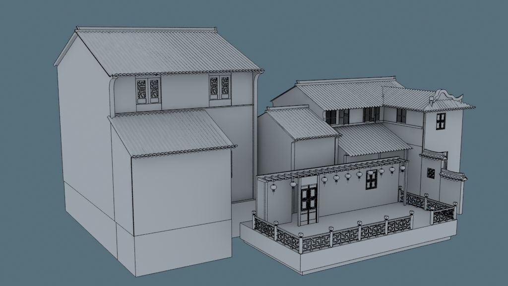3d china house06 model