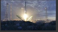 Boykonour Launch Place - with Animated Rocket Soyuz