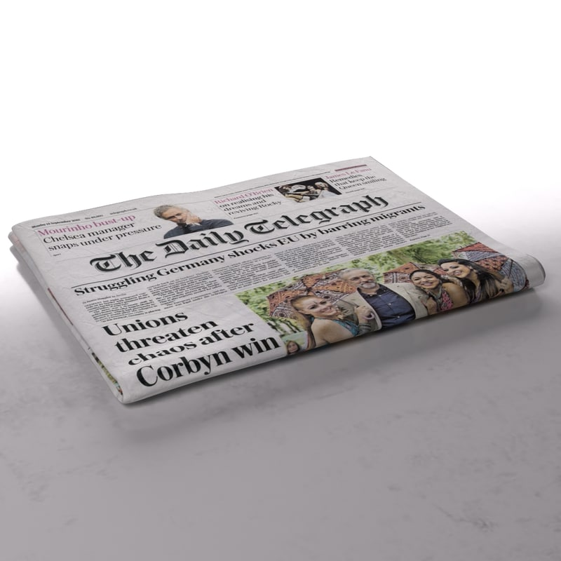 daily telegraph newspaper folds 3d model