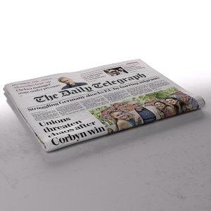 daily telegraph newspaper folds 3d model