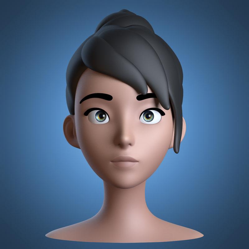 obj cartoon girl head