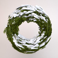 3d model wreath snow