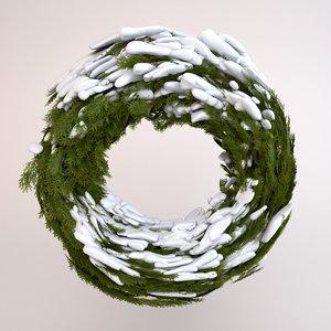 3d model wreath snow