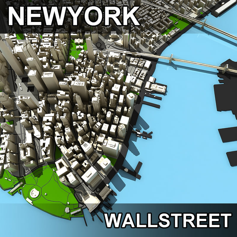3d lower manhattan streets wall model