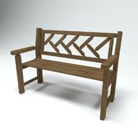 3d city park bench