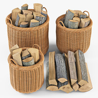 Wicker Basket 07 (Toasted Oat Color) with Firewood