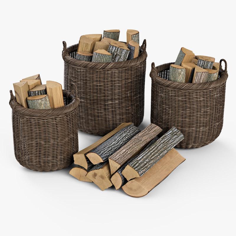 wicker basket firewood brown 3d model