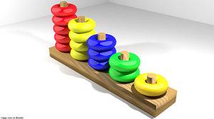 3d model number ring toy