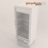 free glass door refrigerator gray 3d model
