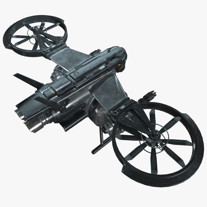 3d model sci-fi drone -