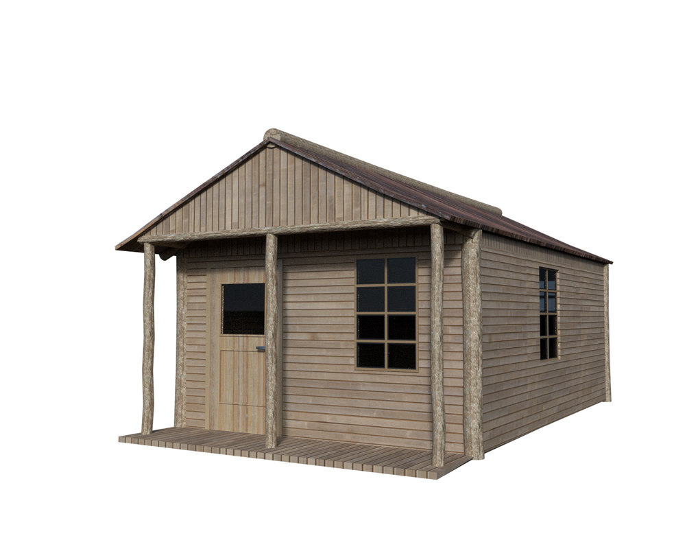 wooden house cabin 3ds